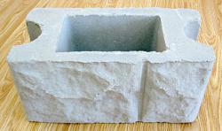 Бетонный блок для столба наборного забора - фактура бут 0,20*0,40