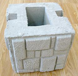 Бетонный блок для столба наборного забора - фактура мазайка